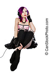 Attractive Alternative Girl in Pink Corset - Emo Girl...