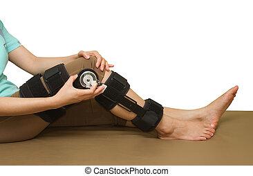Ajustável, ângulo, joelho, cinta, apoio, perna,...
