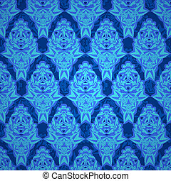 Baroque endless pattern blue vector lace ornament