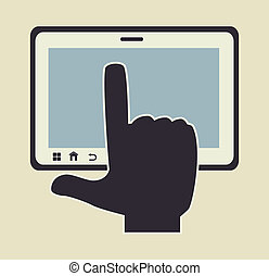 touch screen over white background vector illustration