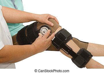 doutor, Ajustável, ângulo, joelho, cinta,...
