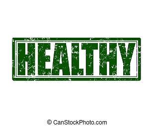 Healty - Stamp with word healty inside, vector illustration