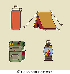 camping design - camping design over beige background vector...