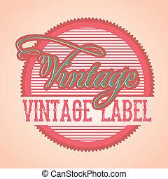 vintage label over pink background vector illustration