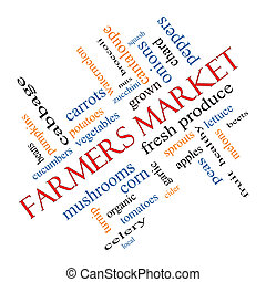 Farmers Market Word Cloud Concept Angled - Farmers Market...