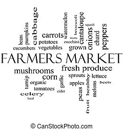 Farmers Market Word Cloud Concept in black and white with...
