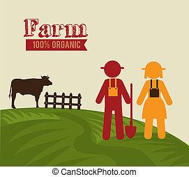 farm design - farm design over beige background vector...