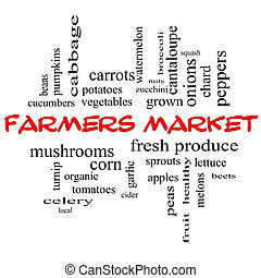 Farmers Market Word Cloud Concept in red caps with great...