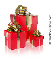 three present red with golden
