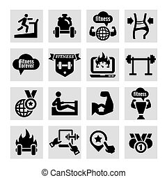 fitness and health icons - Elegant Fitness and Health Icons...