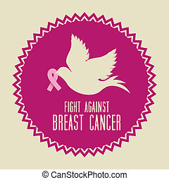 breast cancer over beige background vector illustration