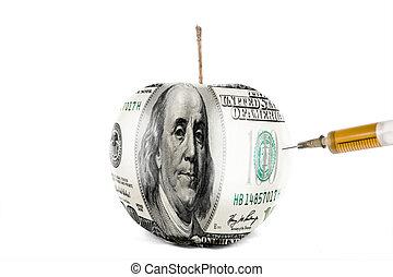 apple has US dollar skin and syringe - the syringe needle...