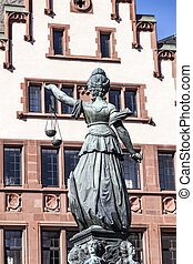 fountain of justice in front of the Romer - Statue of Lady...