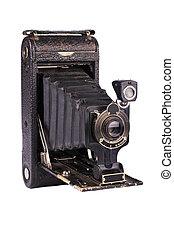 Antique folding camera on white background