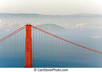famous San Francisco Golden Gate bridge in late afternoon light