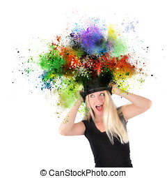 Art Girl with Paint Coming out of Black Hat