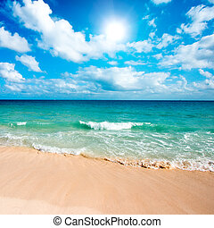 Beautiful beach and sea - Beautiful beach and waves of...