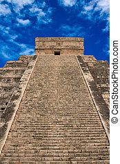 Stairs on Mayan pyramid in Chichen-Itza, Mexico - Stairs on...