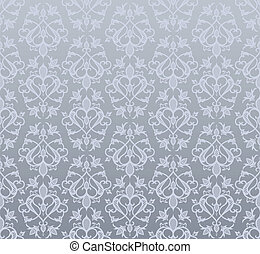 Seamless silver wallpaper  in  vintage style