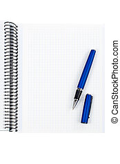 Pen and blank notebook sheet over a white background