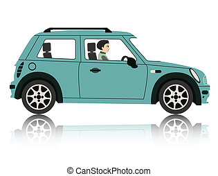 Mini Car - A woman driving a Mini with a white backdrop