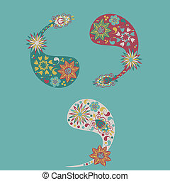 Three different cute Paisley element(Turkish cucumber) for design of fabrics, tableware, wallpaper and other purposes, isolated, vector