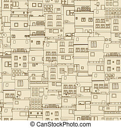 Seamless old town pattern, abstract art