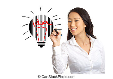 Business woman sketching idea concept - Asian Business woman...