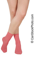 Female legs in socks Isolated on white background Clipping...