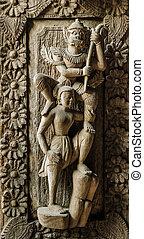 Burmese wooden carving - Wooden carving detail at Shwenandaw...