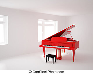 Room with a grand piano - High resolution image 3d room with...