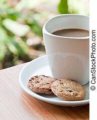 café, taza, galleta