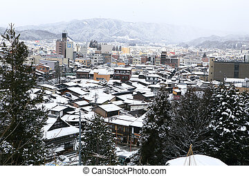 View of the city takayama in Japan in the snow
