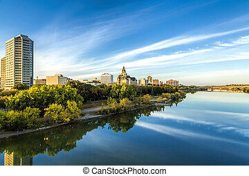 Saskatoon Skyline - The city landscape in fall of Saskatoon...