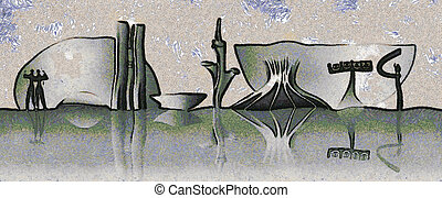 Brasilia skyline - Expressionistic drawing of the Brasilia...