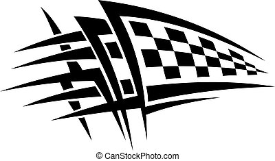 Racing tattoo with checkered flag