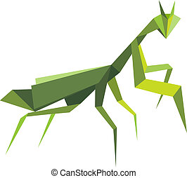 Origami green praying mantis isolated on white background
