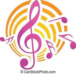 música, themed, motivo, amarela, Cor-de-rosa