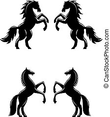 Two rearing up horses silhouettes in black for heraldry...