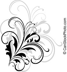 Simple black and white swirling foliate design with a larger...