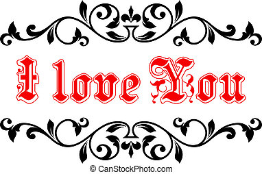 I Love You in a calligraphic frame - I Love You banner in...