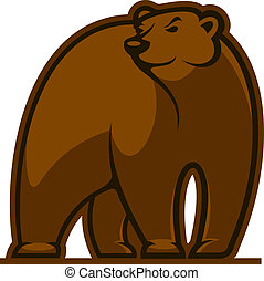 Walking grizzly bear mascot in cartoon style