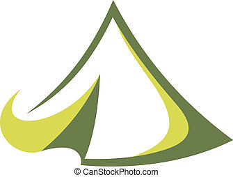 Travel tent - Green tent in the tepee style for travel...