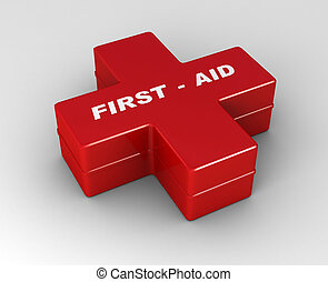 red cross first aid case - illustration of red cross first...