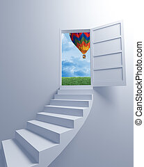 Stairway to the freedom and balloon 3d image background