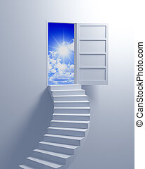 Stairway to the freedom illustration 3d concept background