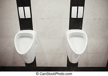 Urinal - Modern male toilet with two urinal