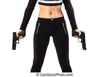 Dangerous female assassin holding two guns - Body of a...