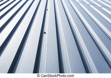 Roof metal sheet - Close-up of a grey metal sheet part of a...