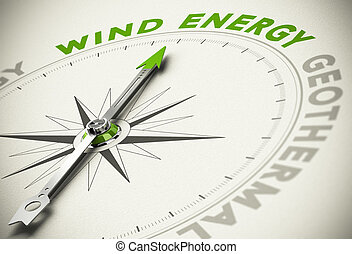Green Energies Choice - Wind Energy Concept - Compass with...